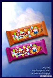 """Креативная разработка упаковки шоколадного батончика """"Контик"""" дл"""
