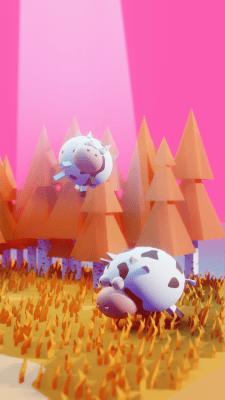 Лоу полі ілюстрація з коровами