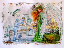 Death and Mother Nature. Акварельная иллюстрация.