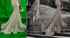 ретушь свадебных платьев