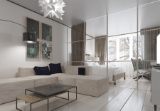 Визуализация гостинной - спальни (вид 1)