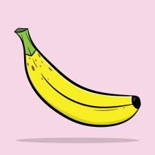 Банан, предметная иллюстрация, плоский стиль .