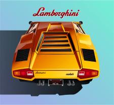 Golden Lambo (векторная иллюстрация)