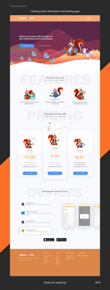 Creating vector illustrations and landing page