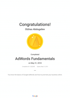 Сертификация по Основам Google Adwords