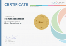 Sertifcate of JQUERY course