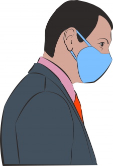 man in a tie with a protective mask  on his face f