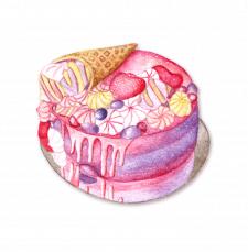 Акварельный торт
