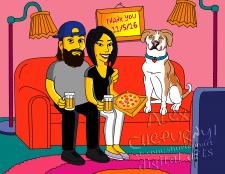 Пара на диване в стиле Симпсоны