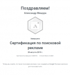 Сертификат Google Ads: Поисковая реклама (2020)