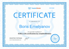 Сертификат по HTML/CSS от Templatemonster