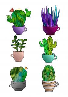Стикеры кактусов