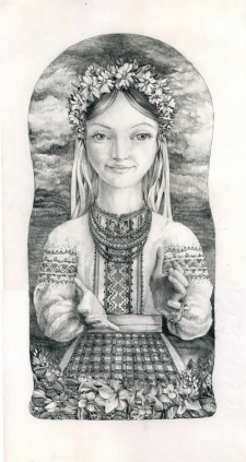 Эскиз матрешки в украинском стиле