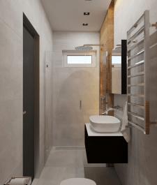 Дизайн итнерьера санузла дома в стиле минимализм