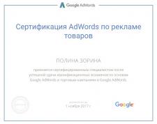 Сертификат по торговым кампаниям Google Adwords