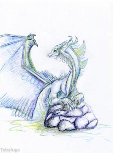 Дракон, акварельные карандаши