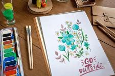 Цветы нежная акварель