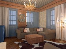 Интерьер гостиной в загородном доме