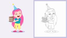 Персонаж девочка с тортом