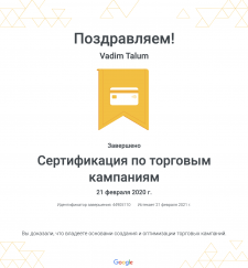 Сертификат по торговым компаниям Google Ads 2020