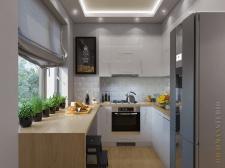 Кухня в однокомнатной квартире 34м2