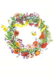 Иллюстрация. Цветочный венок