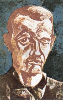 Автопортрет, гравюра на картоне