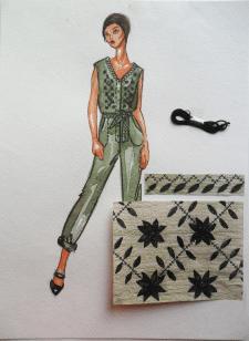 Эскиз одежды с вышивкой