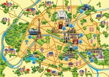 Карта Парижа. Вектор