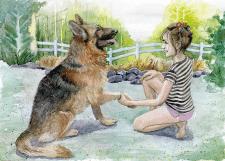 Девочка и собака. Акварель