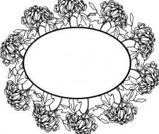 хризантема черным контуром с метом под надпись