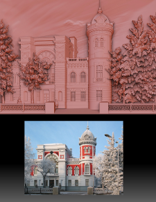 3D модель панно исторического дома по фото (для ЧП