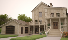 Дизайн и визуализация облицовки фасада коттеджа