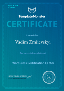 Сертификат Templatemonster [Wordpress]