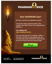 Верстка письма для PharaohDice