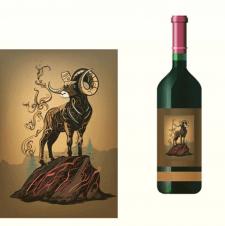 Баран для этикетки вина персонаж