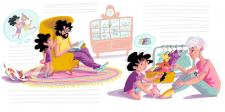 Ілюстрація сім'ї на розворот книги