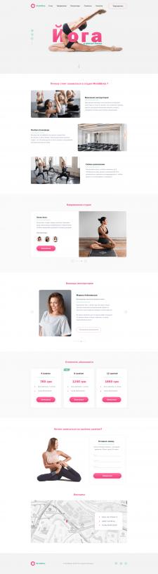 Landing page for yoga studio