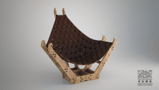 Chair with wood and leather...