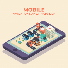 Mobile isometric navigation map with gps icon