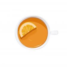 Иллюстрация чашки чая с долькой лимона