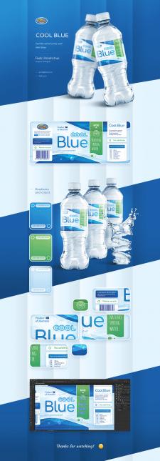 """Дизайн этикетки для минеральной воды """"Cool Blue"""""""
