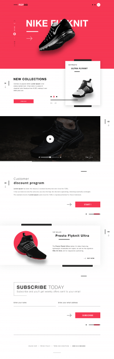 Лендинг пейдж / дилер продукции Nike