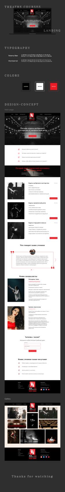 Landing page курсов актерского мастерства и вокала