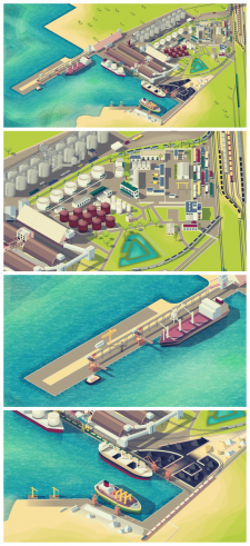 Карта порта в изометрии