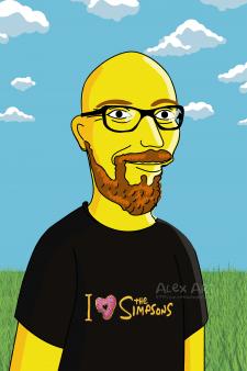 Мужчина по пояс в стиле Симпсонов