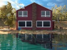 Визуализация загородного дома на берегу озера