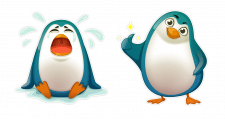 Пингвины-стикеры.
