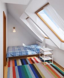Визуализация спальни на мансарде