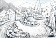 Дизайн парка, стаффажный рисунок